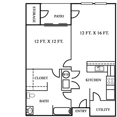One Bedroom / One Bath - 741 Sq. Ft.*